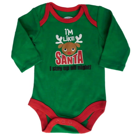 Infant Boys Just Like Santa Stay Up All Night Creeper Christmas Bodysuit