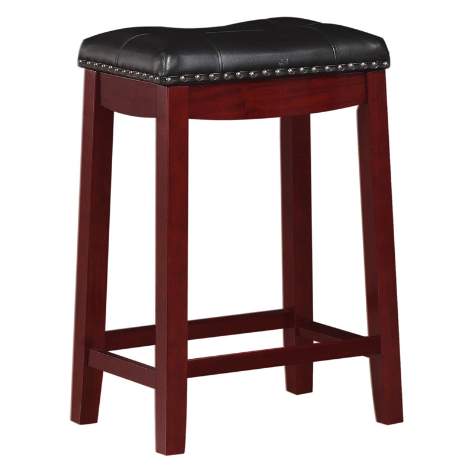"Angel Line Cambridge 24"" Padded Saddle Stool, Cherry w/ Black Cushion"