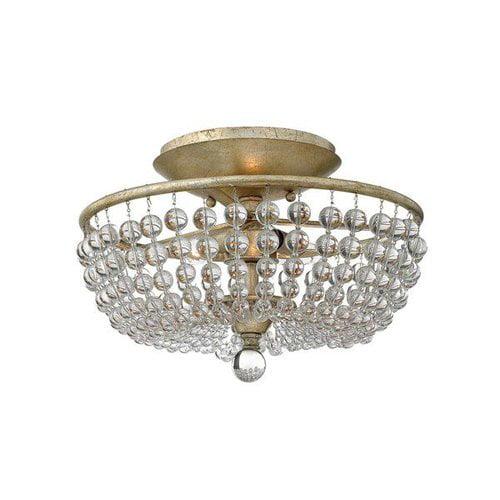 Fredrick Ramond FR43751SLF 3 Light Caspia Semi Flush Ceiling Light, Silver Leaf