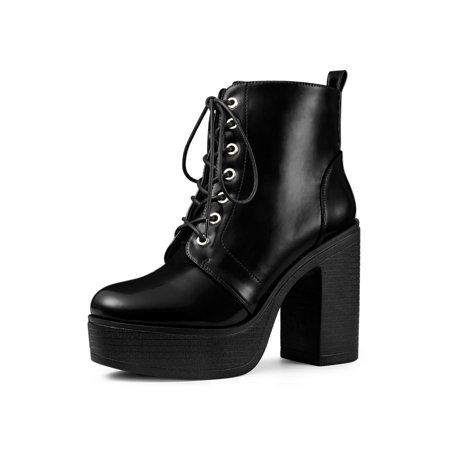 Black Platform Boots Cheap (Women's Platform Chunky High Heel Lace Up Combat Boots Black (Size)