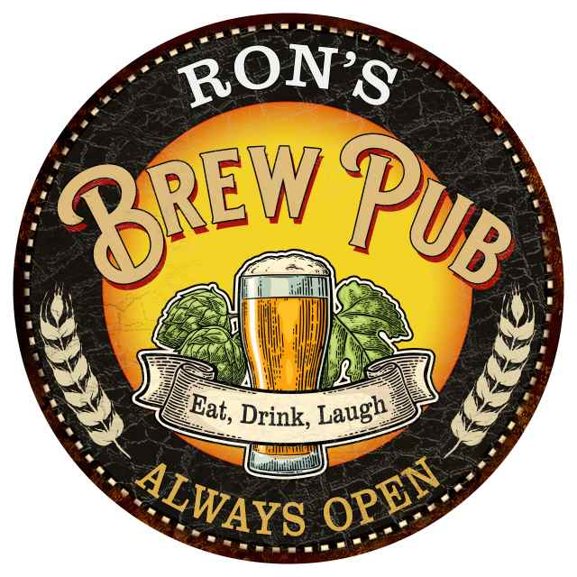 RON'S Beer Pub Man Cave Metal Sign Home Wall Decor 12 inch Round 200120025025