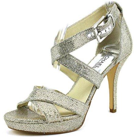 7cc28ed4d07 Michael Michael Kors Evie Platform Open Toe Canvas Sandals - Walmart.com