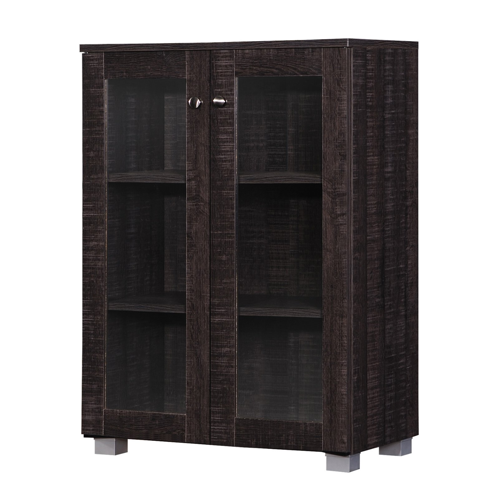 Baxton Studio Mason Modern and Contemporary Dark Brown Multipurpose Storage Cabinet Sideboard with 2 Class Doors by Baxton Studio