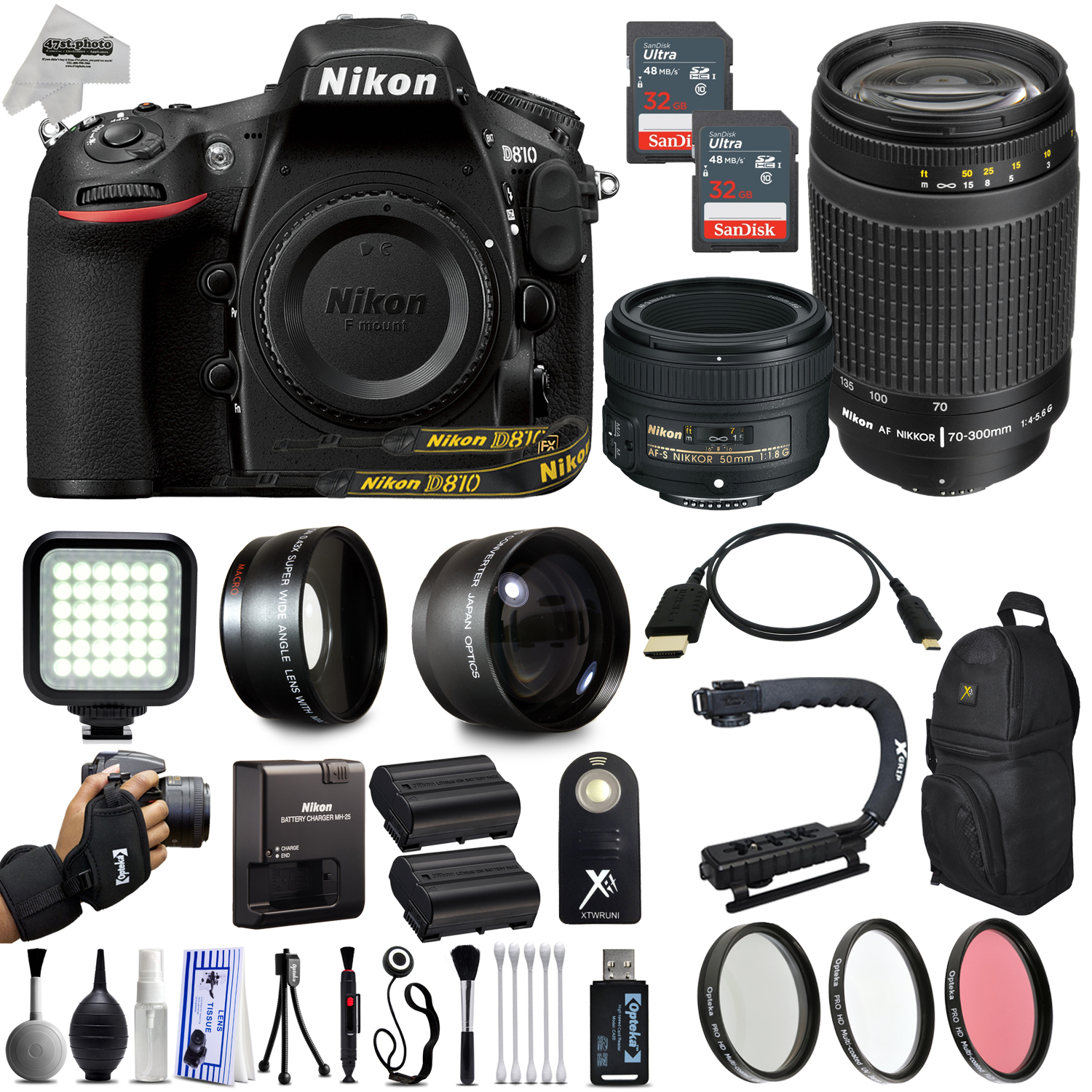 "Nikon D810 36.3MP 1080P DSLR Camera w/ Nikon 50mm f/1.8D + Nikon 70-300mm f/4-5.6G 4 Lens Kit + WiFi & GPS Ready + Built in Flash + 3.2"" LCD + 128GB SD 24 Piece Package"
