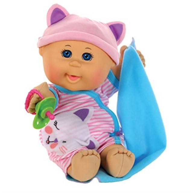 """Cabbage Patch Kids 12.5"""" Naptime Babies Bald Blue Eye Girl Baby Doll (Pink Stripe Jumper Fashion) by Wicked Cool Toys (Domestic)"""