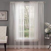 Waverly  Framework Ivory Burnout Sheer Curtain Panel