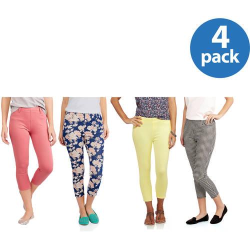 Faded Glory Women's Core Capri Jegging 4 Pack Value Bundle