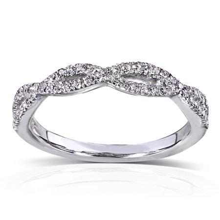 Round Diamond Braided Wedding Band 1/6 carat (ctw) in 14K White Gold