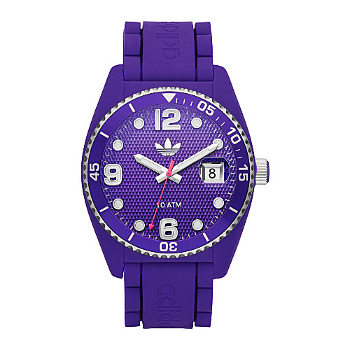 Adidas adh6176 43mm Plastic Case Purple Silicone Mineral Watch by Adidas