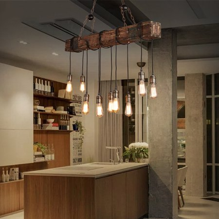Vintage Pendant Ceiling Light,Retro Wood Beam Hanging Ceiling Light  Chandelier for Kitchen Bar Hotel Bedroom Dining Room Decor (Ceiling Decor)