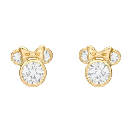 Disney Minnie Mouse CZ 10kt Gold Minnie Mouse Stud Earrings