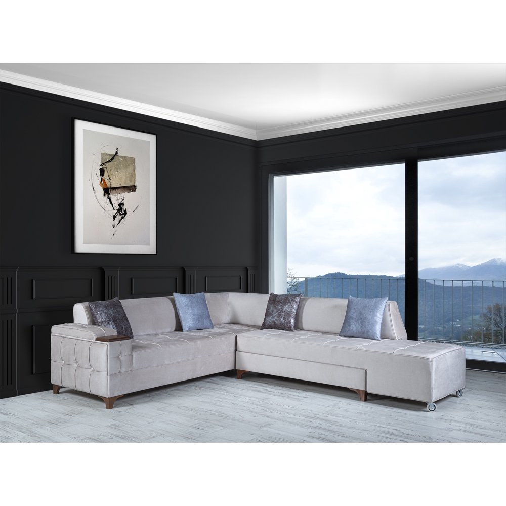 traditional luxurious living room sectional sofa chaise