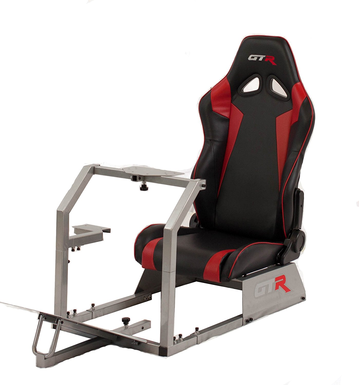 GTR Racing Simulator GTA-S-S105LBLKRD GTA 2017 Model Silver Frame with Black/Red Real Racing Seat, Driving Simulator Cockpit Gaming Chair with Gear Shifter Mount