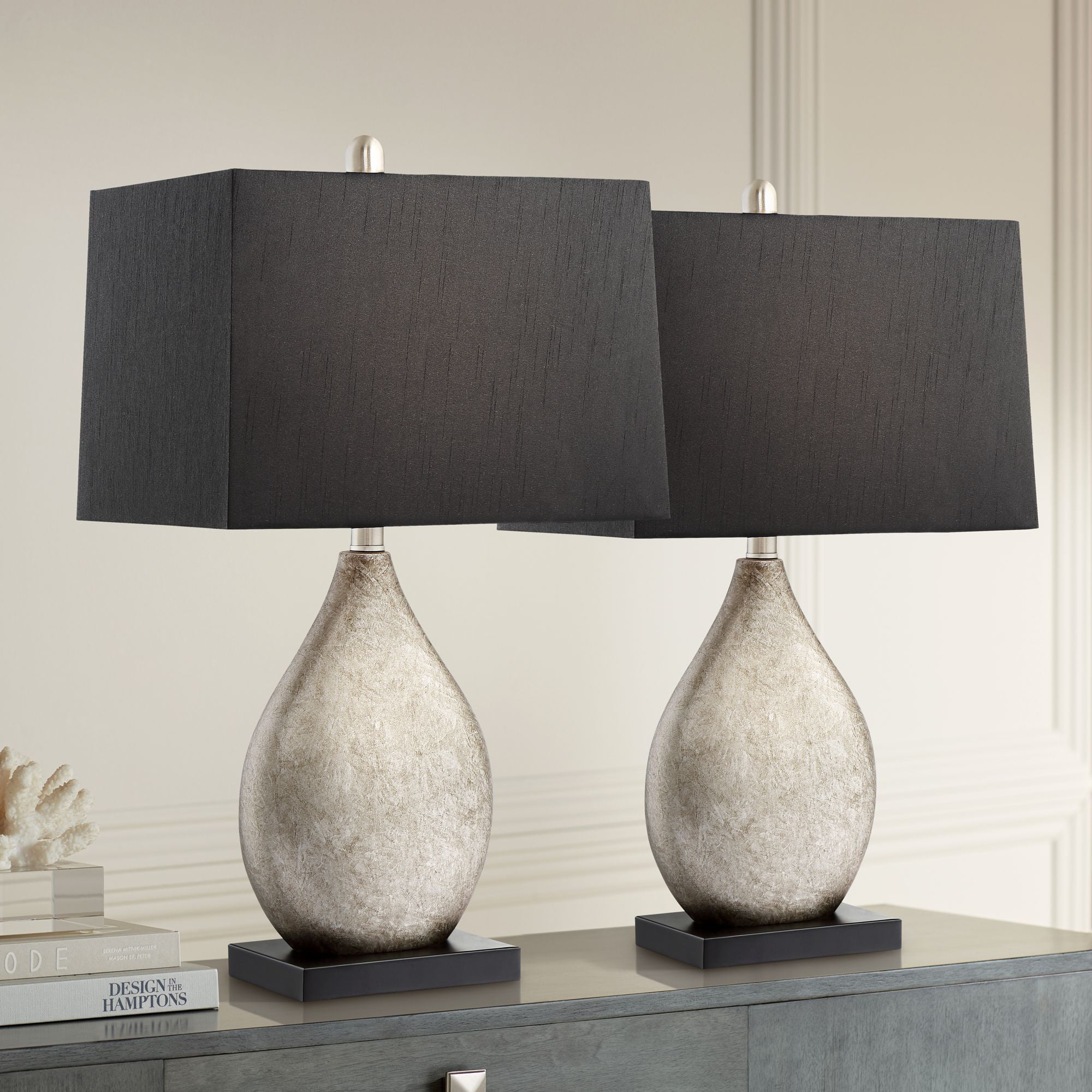 Regency Hill Modern Table Lamps Set Of 2 With Black Rectangular Shade For Living Room Family Bedroom Bedside Nightstand Office Walmart Com Walmart Com