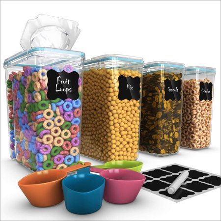 Set of 4 Cereal & Dry Food Storage Container (16.9 Cup/135.2oz) + 4 Measuring Cups Set + FREE Labels & Marker -100% Airtight Lid - BPA-Free Dispenser Keepers for Cereal, Flour, Sug (Food Container Labels)