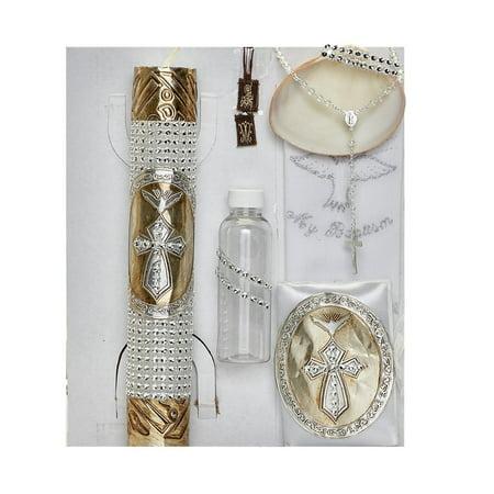 Alegria Kids Unisex Gold Seashell Prayer Book Cross Christening Candle Set