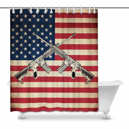 MKHERT Grunge Flag of USA United states of America Country with guns House Decor Shower Curtain for Bathroom Decorative Fabric Bath Curtain Set 60x72