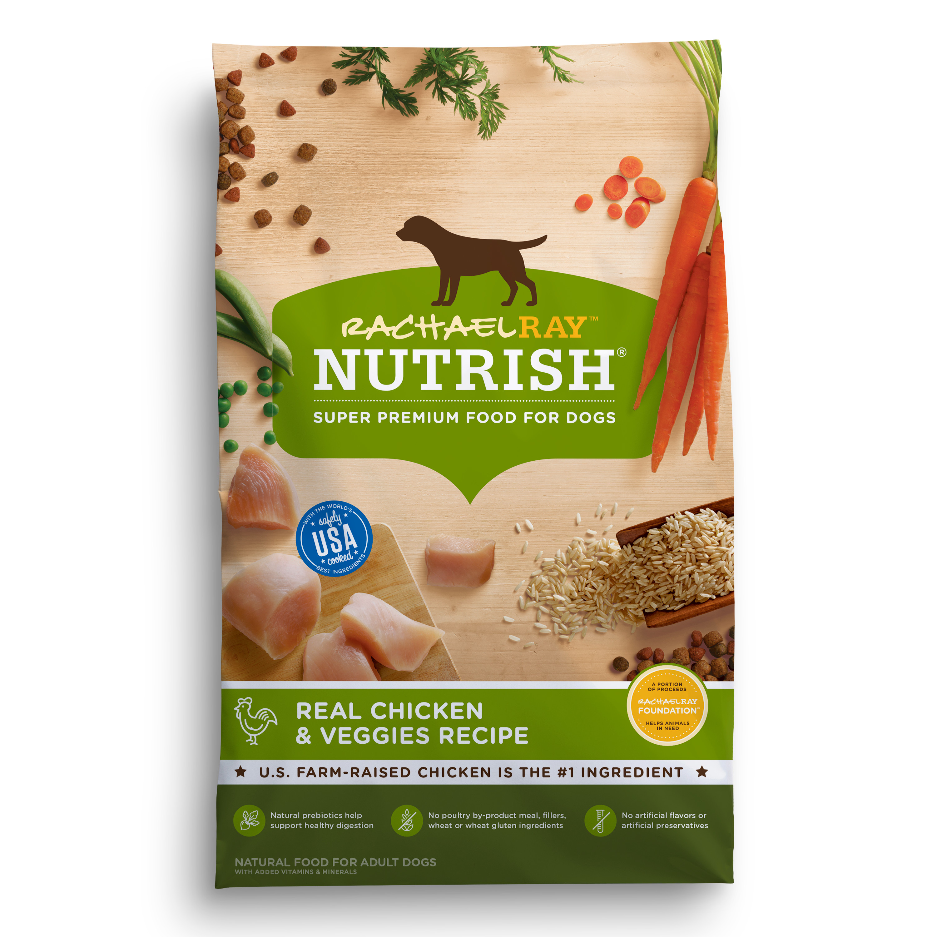Rachael Ray Nutrish Natural Dry Dog Food, Real Chicken & Veggies Recipe, 14 lbs