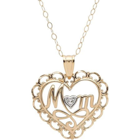 Open Filigree Heart - 10kt Yellow Gold with Rhodium Filigree Border Heart with Mom Pendant, 18