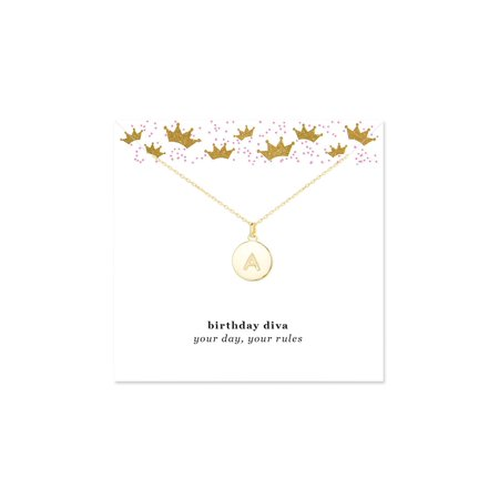 Birthday Diva Initial Gold Disc Necklace (Diva Gold Necklace)