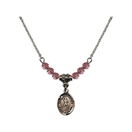 18-Inch Rhodium Plated Necklace with 4mm Light Rose Pink October Birth Month Stone Beads and Saint Christopher/Football Charm (Football Bead Necklaces)