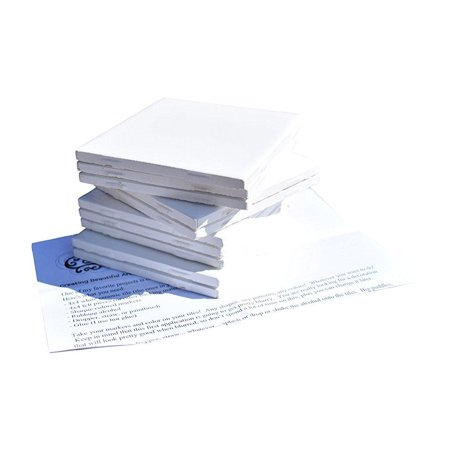 glossy ceramic tiles 4x4 each plus exclusive 2 page guide for tile crafts (set of 10) (white)