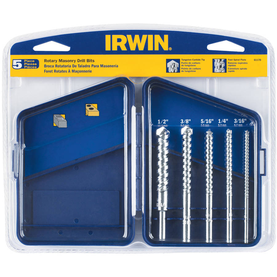 Irwin 61170 Carbide Tipped Rotary Masonry Bit Set, 5-Count