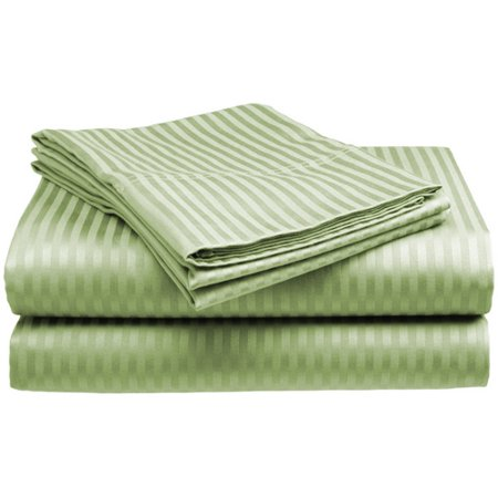 400 Tc 100% Cotton Pillowcases (Deluxe Home 100% Cotton  400 Thread Count Dobby Stripe Sheet Set ( QUEEN, SAGE))
