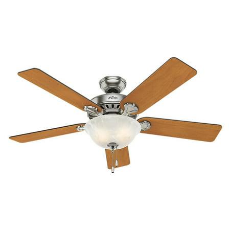 Hunter 53249 52 In  Pros Best Five Minute Fan Brushed Nickel Ceiling Fan With Light