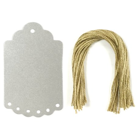 Wrapables  50 Gift Tags Kraft Hang Tags With Free Cut Strings For Gifts  Crafts   Price Tags  Large Scalloped Edge  Shimmer Silver