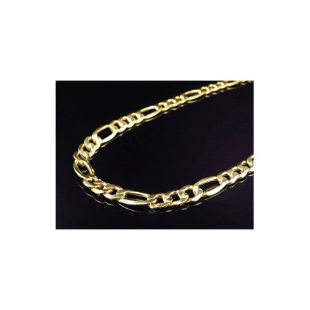 10K Yellow Gold Figaro Link Chain Necklace 9MM 24