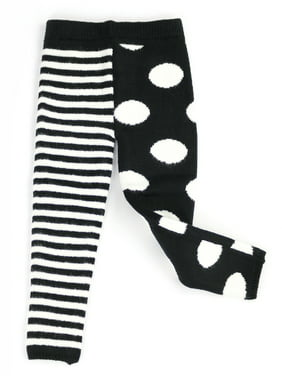 Infants & Toddlers Wool Knitted Winter-Thick Thermal Leggings | Mix Match Polka Dot & Stripe Kelly & Katie (Black-White, 12M)