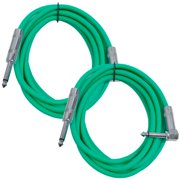 """Seismic Audio 2 Pack - 10' Green Guitar Cable TS 1/4"""" to Right Angle - Instrument Cord - SAGC10R-Green-2Pack"""