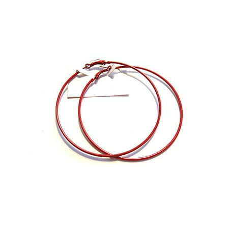 Red Hoop Earrings Classic Thin 3 inch Hoop Earrings