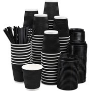 NYHI Set of 100 Black Disposable Paper Cups with Black Lids and Straws (8-oz) | Ripple Insulated Kraft for Hot Drinks - Tea & Coffee | Triple Layer Design | Eco- Friendly, Recyclable, Durable Paper