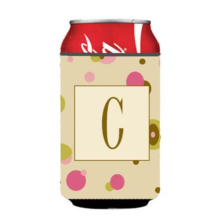 Letter C Initial Monogram - Tan Dots Can or Bottle  Hugger - image 1 of 1