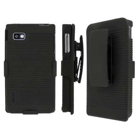 LG Optimus F3 Belt Clip Case, MPERO Collection 3 in 1 Tough Black Kickstand Case for LG Optimus F3 MS659 (Compatible with Metro PCS and T-Mobile Model (Best Clips For Pcs)