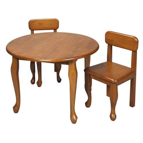 3 Pc Kids Queen Anne Style Table & Chair Set - Honey Finish