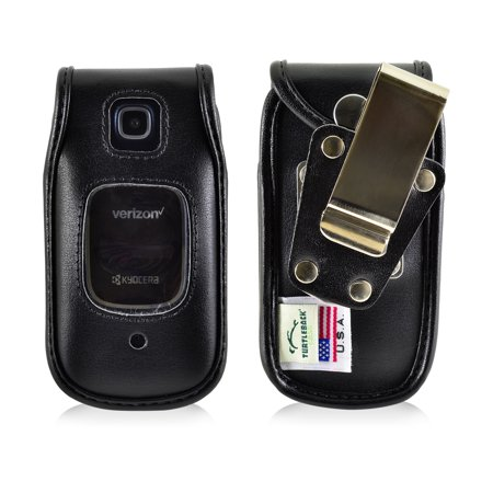 Phone Case Removable Belt Clip - Kyocera Cadence Flip Phone Fitted Case by Turtleback, in Leather and Nylon - Made in USA
