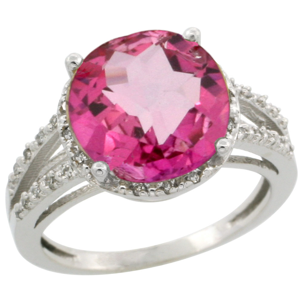 14K White Gold Diamond Natural Pink Topaz Ring Round 11mm, sizes 5 ...