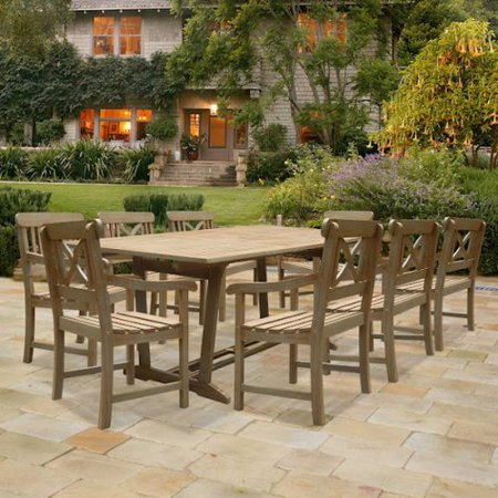 Vifah Rectangular Hand Scraped Hardwood Dining Set