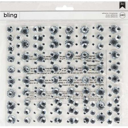 American Crafts Bling Adhesive Rhinestones 240/Pkg-White Silver/Round