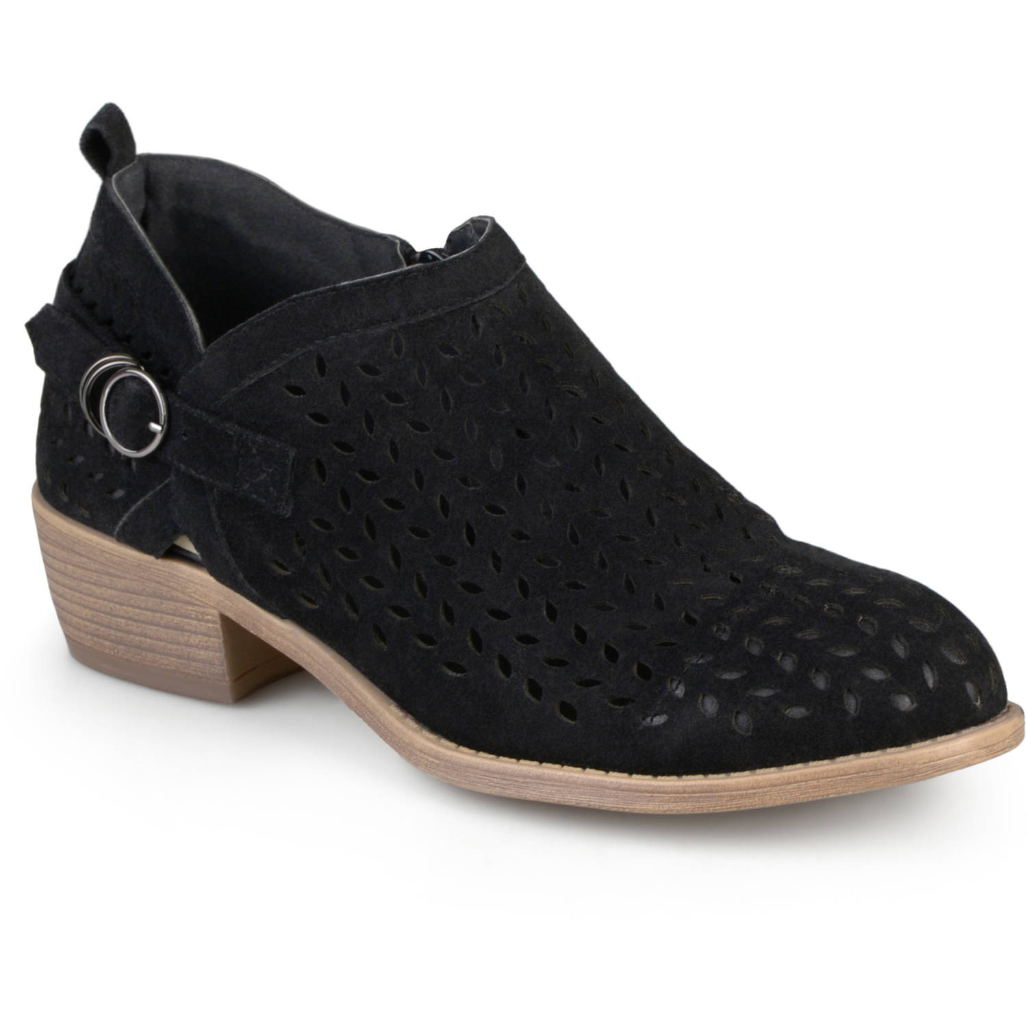 Brinley Co. Womens Stacked Heel Buckle Perforated Round Toe Ankle Booties