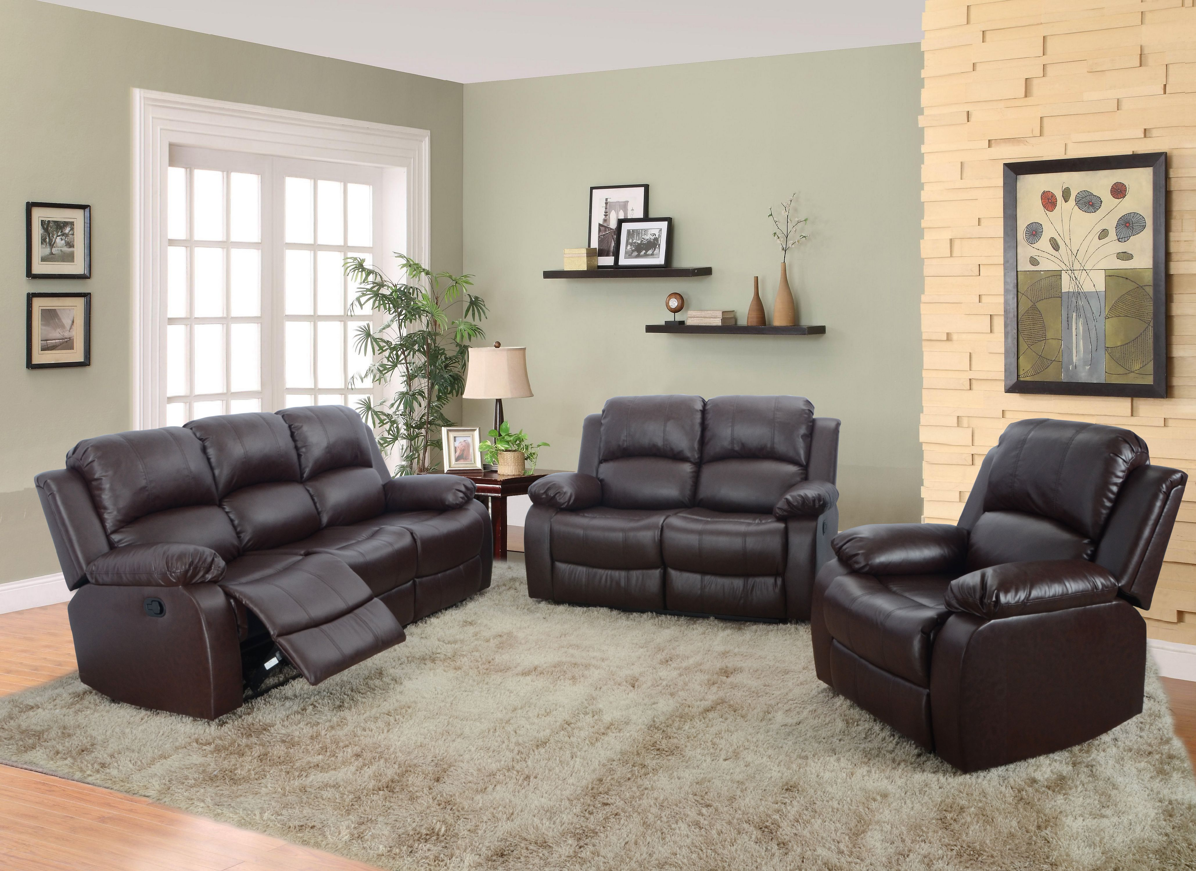 Reclining sectional sofa aycp furniture 3pc living room reclining sectional sofa set sofa loveseat chair bonded leather brown color more colors and