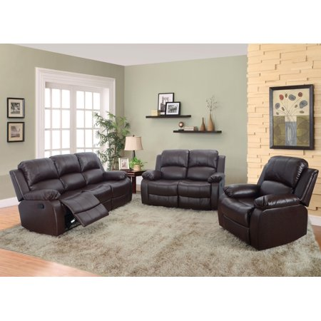 AYCP Furniture 3pc Living Room Reclining Sofa Set, Sofa/Loveseat/Chair, Bonded Leather, Brown ()