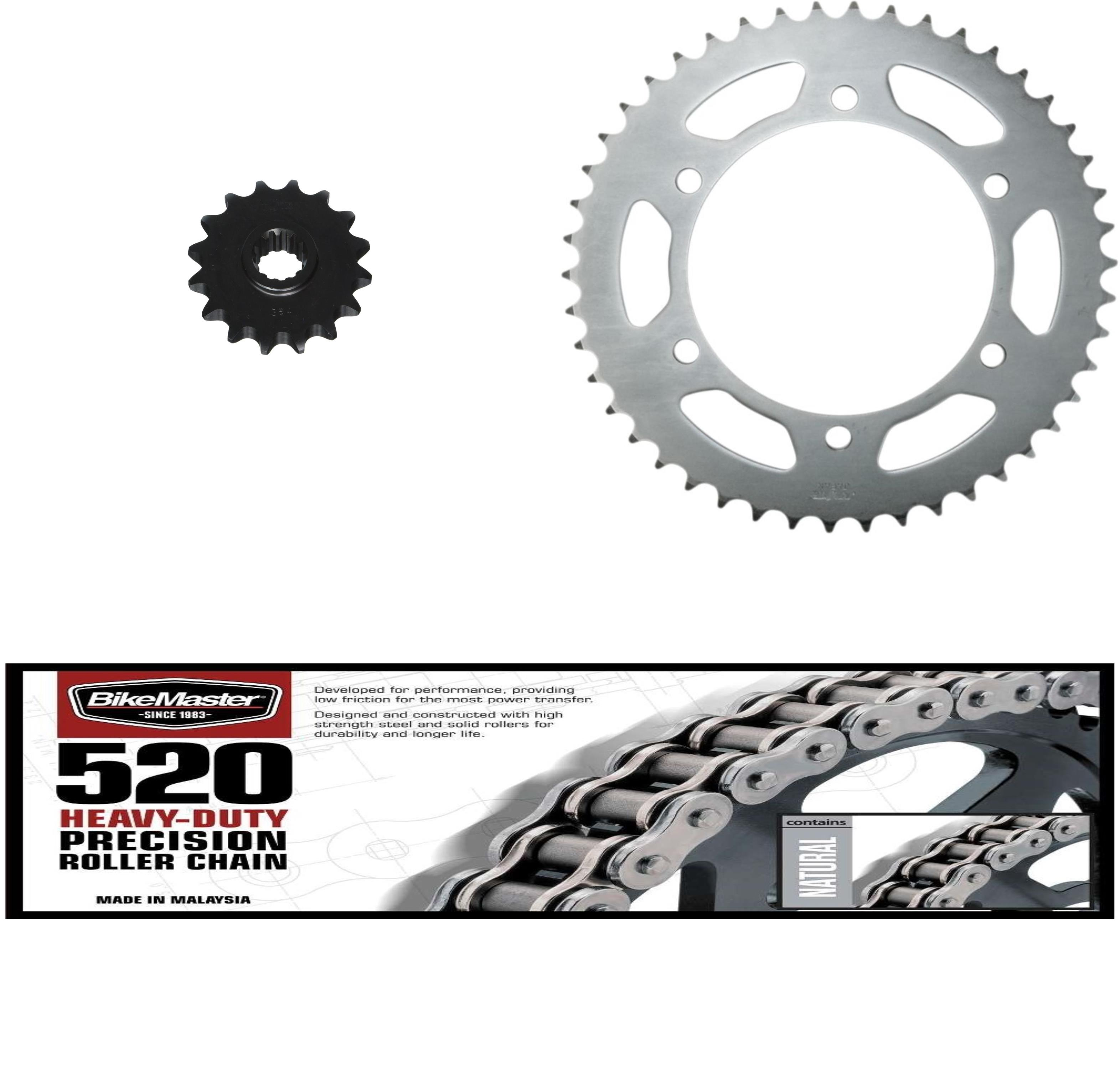 BIKEMASTER 520H Heavy-Duty Precision Roller Chain, SUNSTAR Front & Rear Steel Sprocket Kit for Street YAMAHA FZ6R 2009-2015