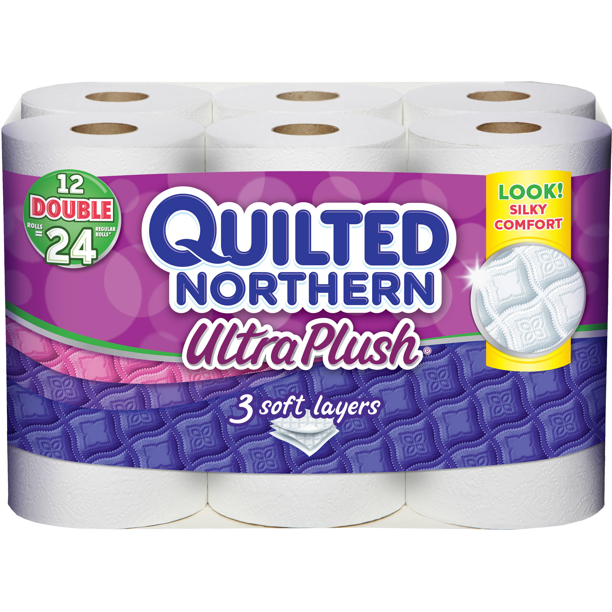 Quilted Northern Ultra Plush Toilet Paper, 12 Double Rolls, Bath Tissue