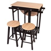 Costway 3pc Wood Kitchen Island Rolling Cart Set Dinning Drop Leaf Table W 2 Stools