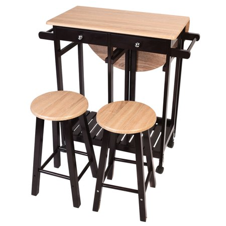 Costway 3pc wood kitchen island rolling cart set dinning drop leaf costway 3pc wood kitchen island rolling cart set dinning drop leaf table w 2 stools watchthetrailerfo