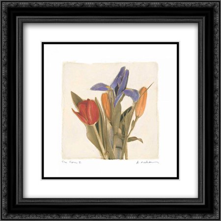 Tre Fiori II 2x Matted 20x20 Black Ornate Framed Art Print by Melious,